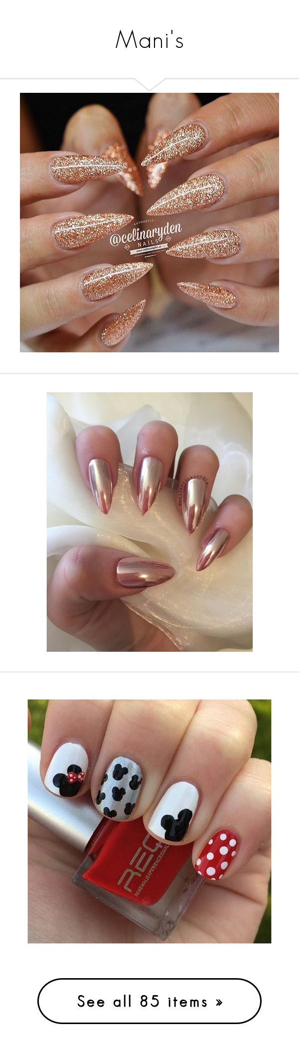 """""""Mani's"""" by gorgeouslor ❤ liked on Polyvore featuring beauty products, nail care, nail polish, nails, nail treatments, beauty, makeup, unhas, disney and fillers"""