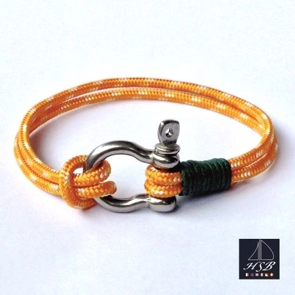 Orange paracord bracelet with green line and stainless steel shackle - 45 RON