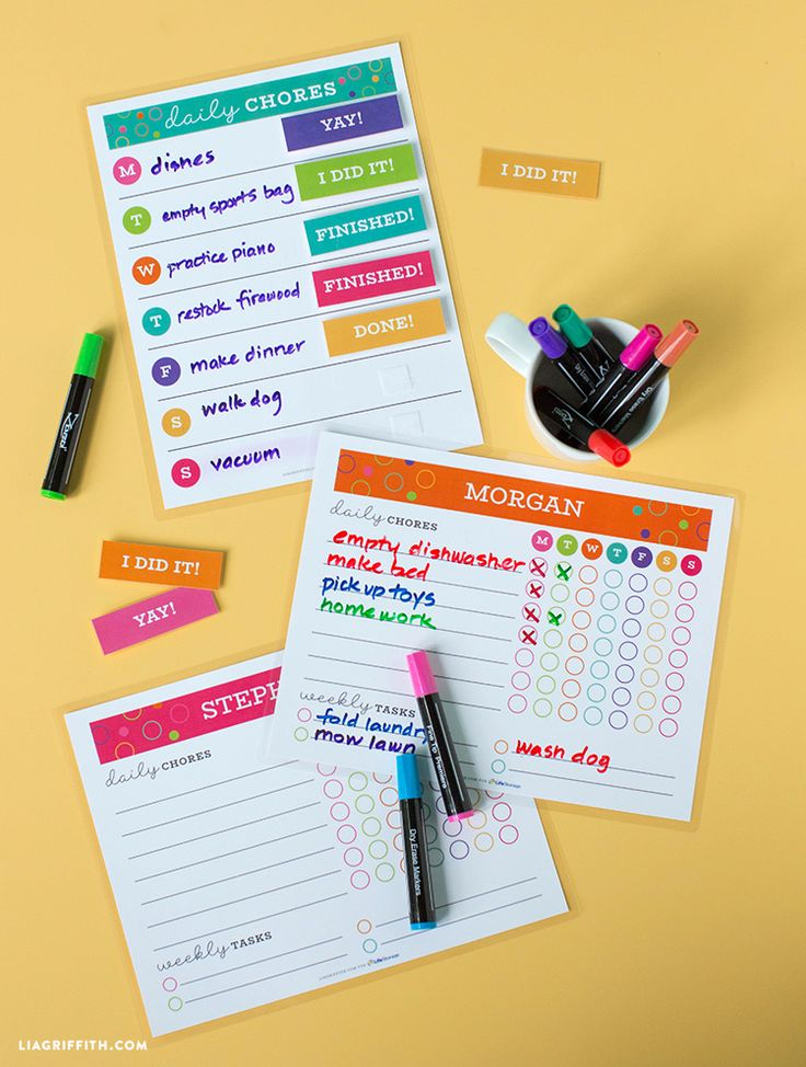 Get the kids in on the organization effort at home with a chore chart printable. These templates work for daily and weekly tasks and include a sticker reward system. So cute and fun! Designed by Lia Griffith | Sponsored by Life Storage