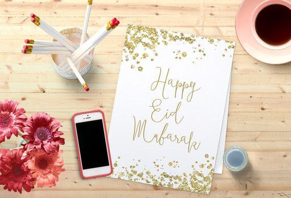Happy Eid Mubarak Greetings Card Ramadan Home Decor Wall Art  Golden Confetti glitter