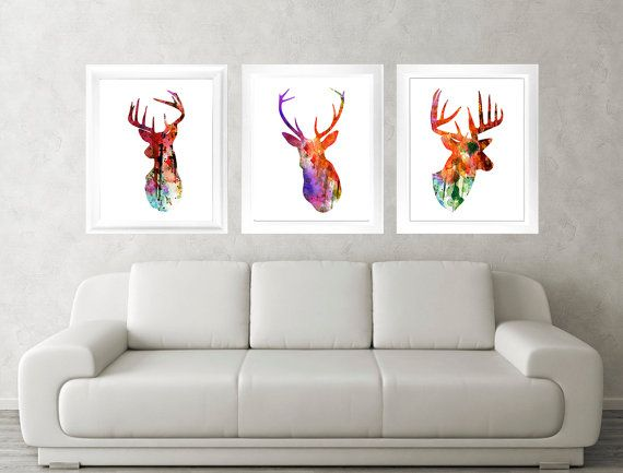 Antler, Stag, Deer Print Set of 3 - Fine Art Watercolor Textured Paper Poster Silhouette Art - Print - Wall Decor, Home Decor, Gifts on Etsy, $27.81 AUD