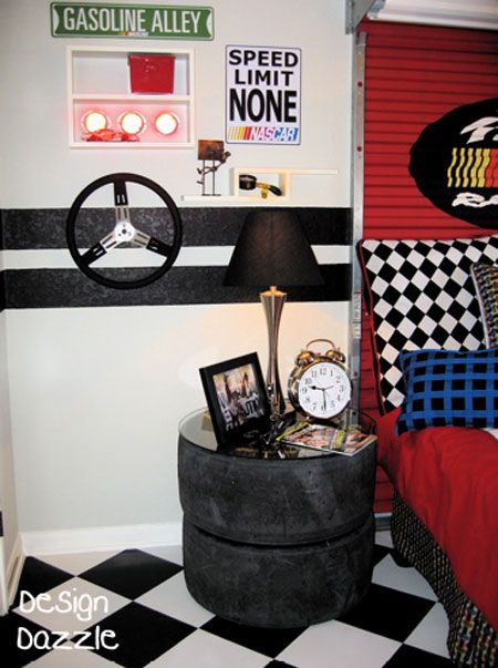 50 Ideas For Car Themed Boys Rooms - Design Dazzle- Joshua- love the recycled tire nightstand