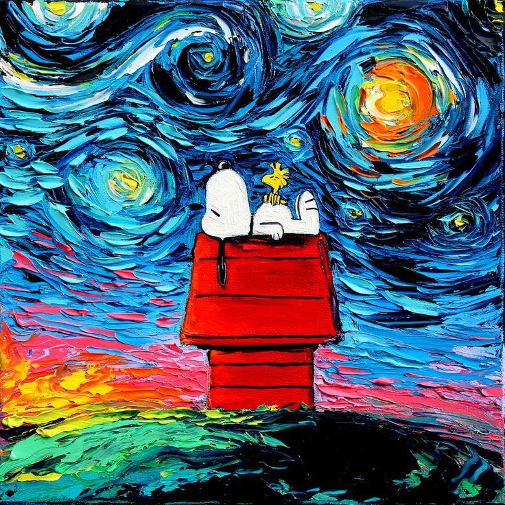 Snoopy Art - Peanuts Cartoon Starry Night print van Gogh Never Saw Woodstock by Aja 8x8, 10x10, 12x12, 20x20, and 24x24 inches choose size by SagittariusGallery on Etsy https://www.etsy.com/listing/265111078/snoopy-art-peanuts-cartoon-starry-night