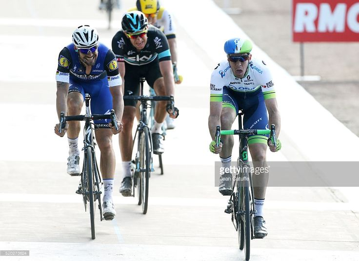 Mathew Hayman of Australia and Orica GreenEDGE wins in front of Tom Boonen of Belgium and Ettxx-Quick Step and Ian Stannard of Great Britain and Team Sky Paris-Roubaix 2016 cycling race at Velodrome of Roubaix on April 10, 2016 in Roubaix, France. #ParisRoubaix #rm_112