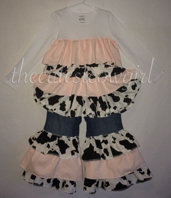 BOUTIQUE Custom Girls Cow cowgirl Ruffle White by TheCutestCowgirl