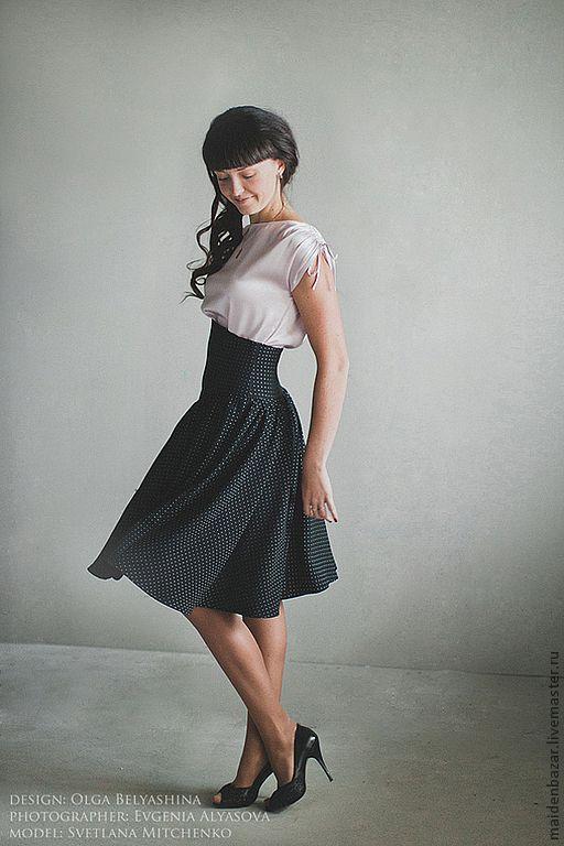 Купить Юбка на кокетке - чёрный, юбка-клеш, юбка с высокой талией, юбка на кокетке
