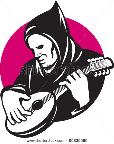 Illustration of a hooded man playing stringed musical instrument banjo guitar done in retro style. - stock vector #banjo #retro illustration