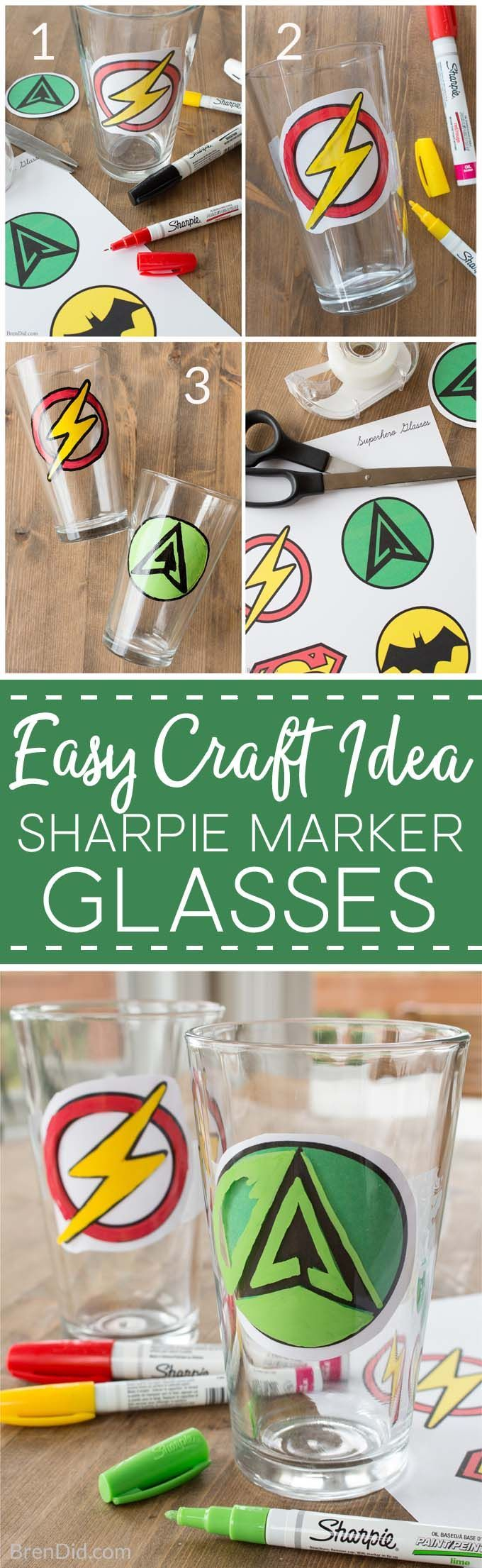 How to Make Custom DIY Sharpie Glasses, Sharpie glass diy, sharpie glassware, how to draw on glass with sharpie, sharpie art, sharpie crafts, superhero craft via @brendidblog