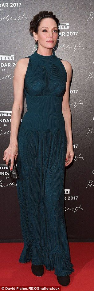 Uma Thurman oozes opulence in pleated emerald gown as she steals the show at Pirelli Calendar gala dinner | Daily Mail Online