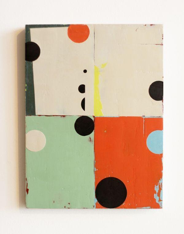 Celia Johnson. Saturday Night. 2011. Encaustic & alkyd on wood panel