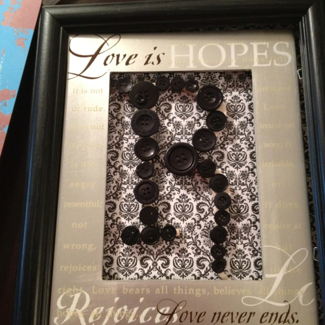 Button monogram made with recycled buttons and picture frames