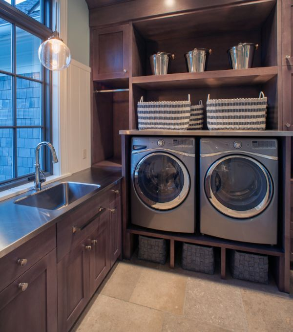 Laundry Room Storage Bins | Plenty of open storage area coupled with cool shelves under the sink