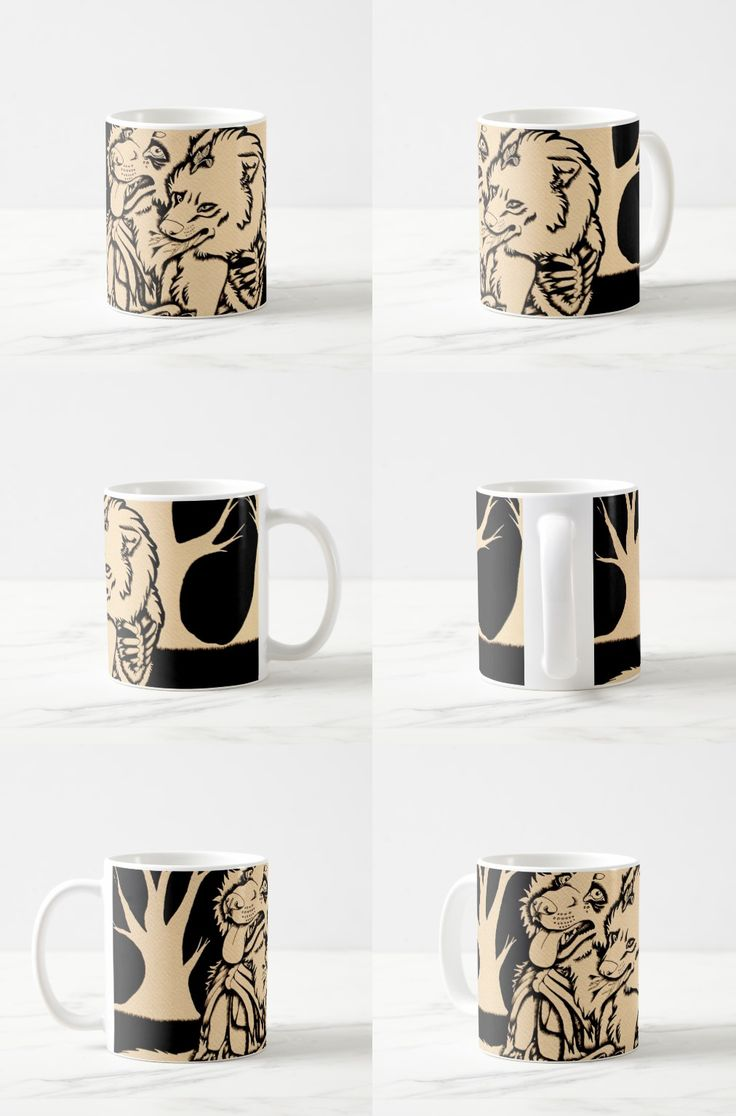 """""""Two Single Hearts on Fire"""" Illustrated Wolf Couple Coffee Mug #macabre_art #illustration #wolf_products"""