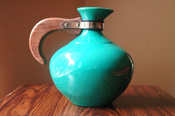 Mid Century Metlox Pitcher - Vintage Turquoise Art Deco Modern Carafe