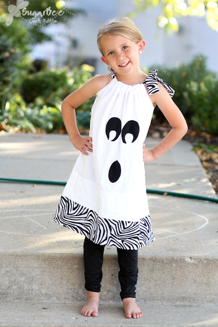 Super cute Ghost Pillowcase Dress - simple sewing for fall - - (Halloween Dresses - Sugar Bee Crafts)