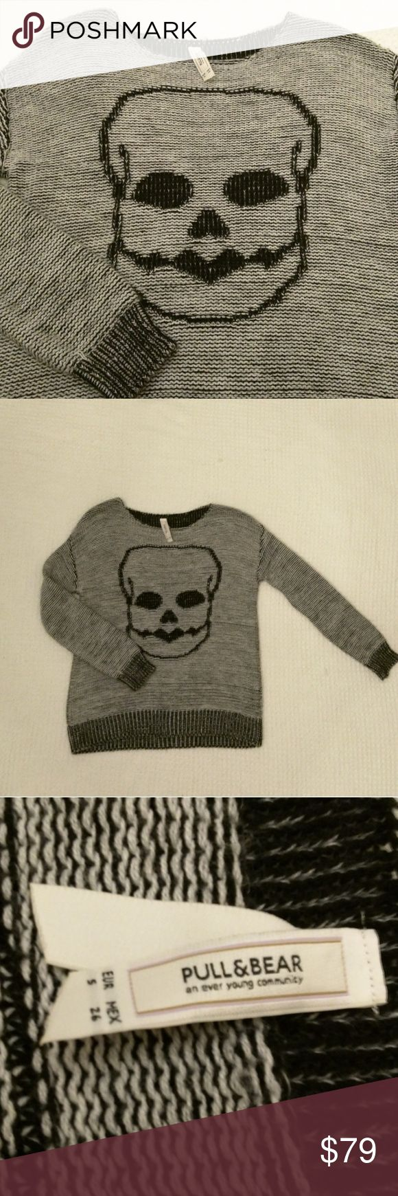 Pull&Bear skull knit sweater vegan soft Small So soft and comfy! This sweater is sold in the UK- hard to find!! Love the 💀 skull Vegan Pull&Bear Sweaters Crew & Scoop Necks