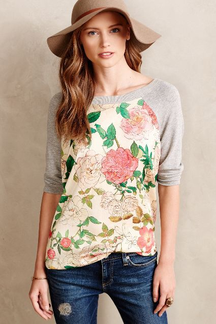 Camille Pullover - anthropologie.com.. floral sweatshirt