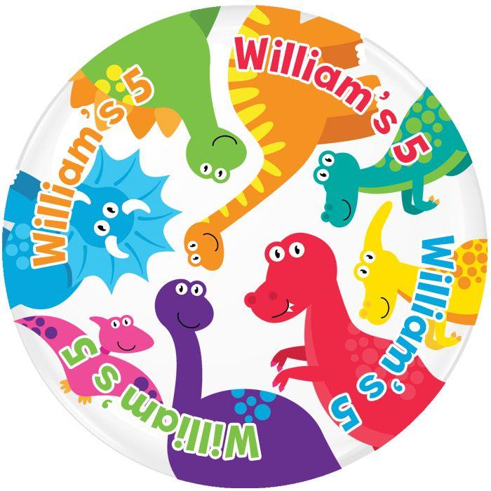 Dinosaur Personalised Birthday Party Badge #489