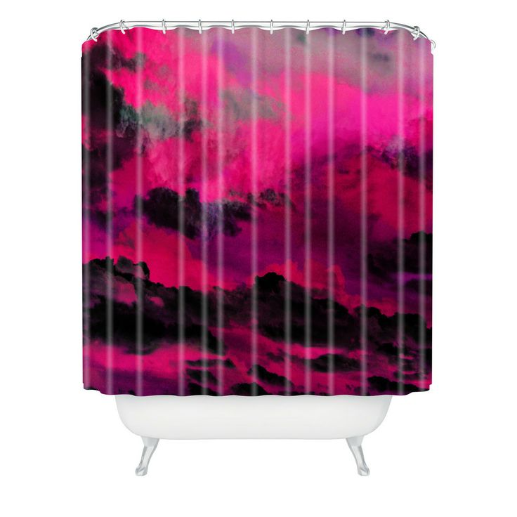 Raspberry Bathroom Accessories: Caleb Troy Raspberry Storm Clouds Shower Curtain