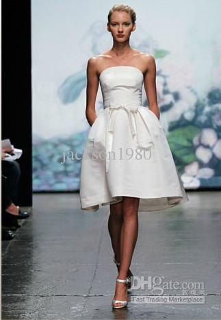 Fall Ball Gown Strapless Sleeveless Low Back Bow Sash Short Mini Taffeta Beach Wedding Dress Lili