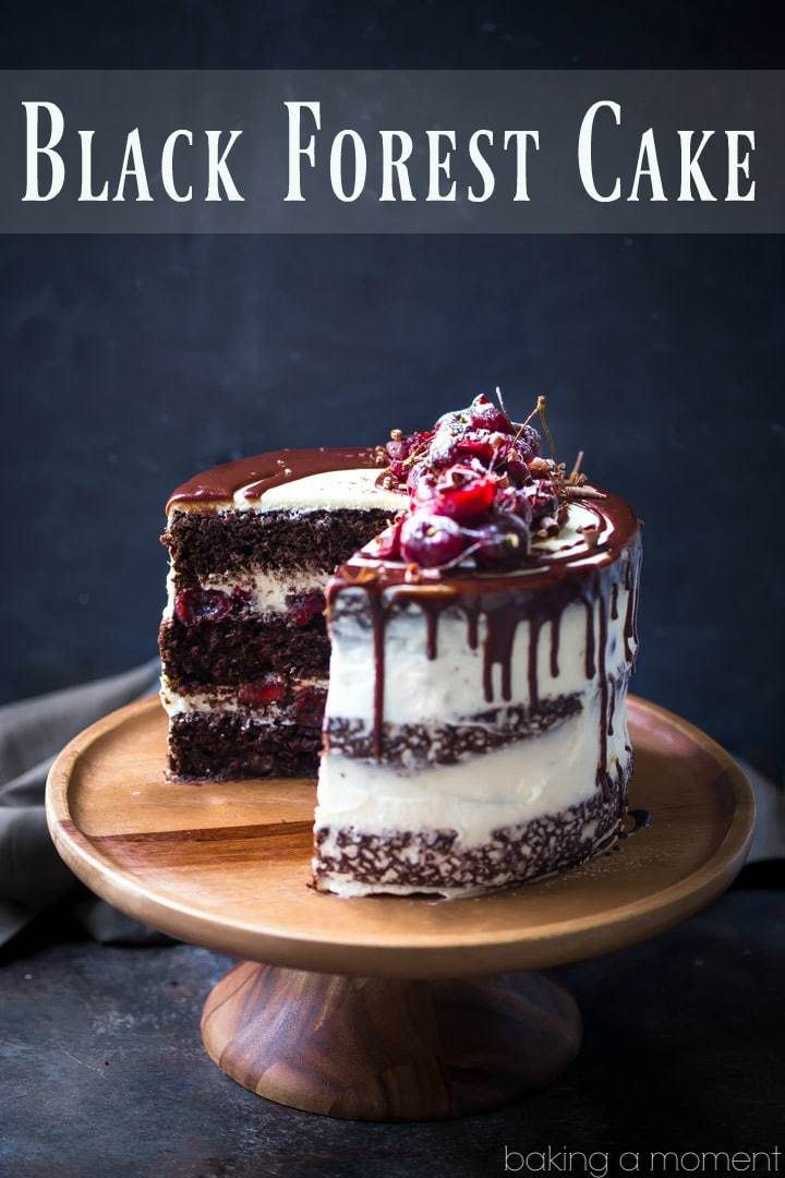 Black Forest Cake: moist chocolate cake layered with sweet cherries and whipped cream. So luscious! food desserts chocolate