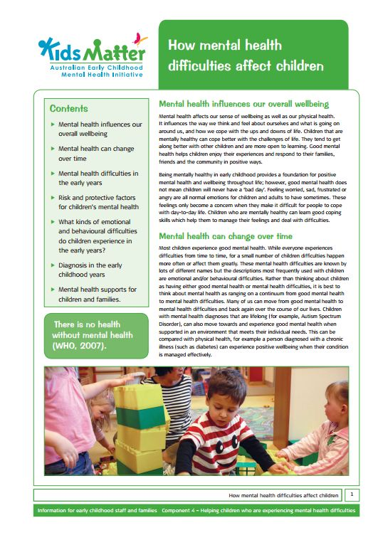 Top tips: How mental health difficulties affect children. Information sheets for families and ECEC staff.