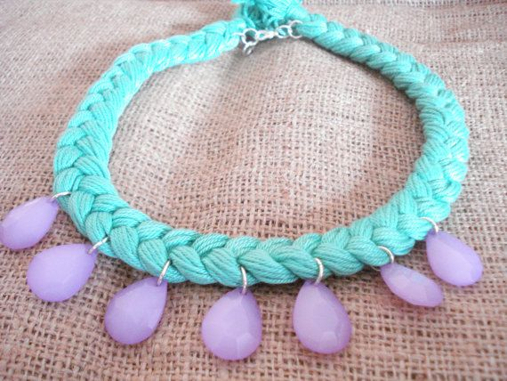 50% off Statement necklace Cotton braided mint green by Poppyg