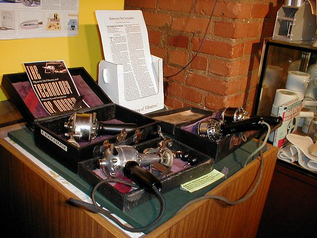 """Table of vibrators Until the 1920s, female patients thought to be hysteric were treated by having their genitals massaged until the patient had a """"spasm"""". Obviously, this was actually an orgasm. Doctors welcomed the introduction of mechanical devices to achieve the same effect, because they made it much easier and less fatiguing for their hands. (!) Early Sears-Roebuck catalogues contained a page of vibrator devices that could be ordered."""