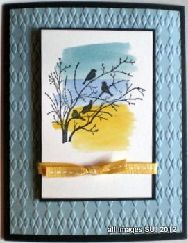 This Serene Silhouettes card idea uses a watercolor background made with re-inkers and the aqua painter. Click to see more at http://stampingonthebackporch.com