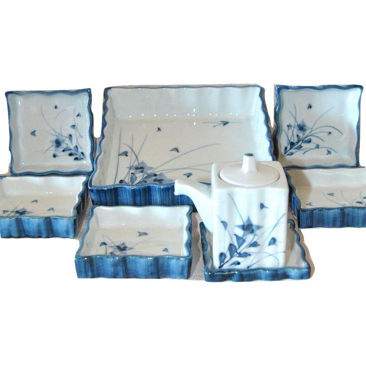 Arita Blue and White Porcelain Condiment Set, Japanese Pottery, Sauce Dispenser, Plates, Original Box