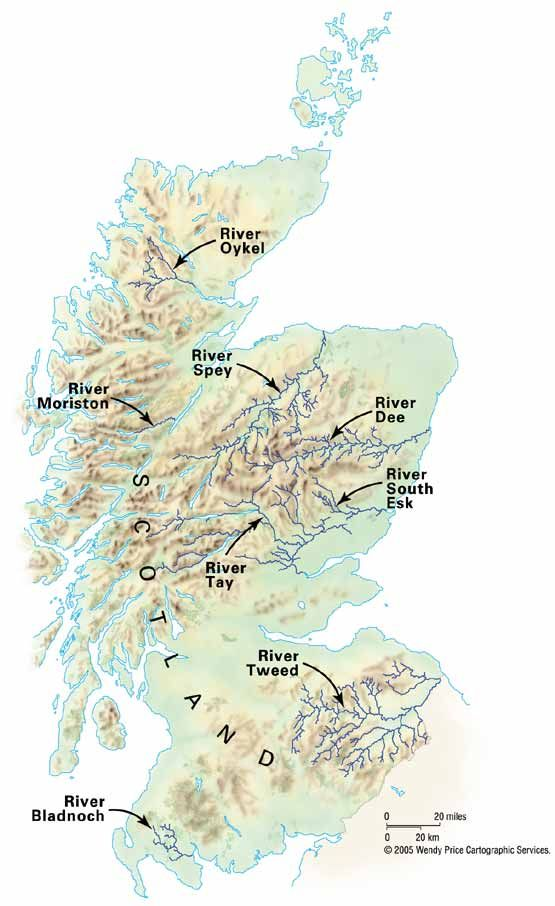 Picture of a map of Scotland showing the rivers where actions are