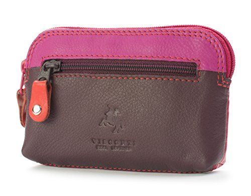Visconti RB62 Multi Color Soft Leather Coin Purse Key Wallet With Key Chain (Plum Multi)