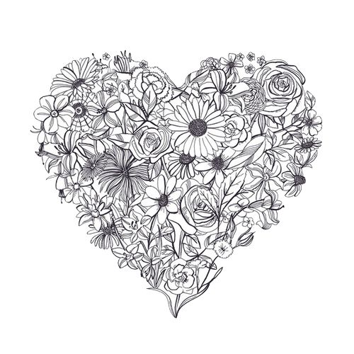 Perf tattoo idea. You could use any small item that has variety (the flowers) to make any sort of shape, like a cross.