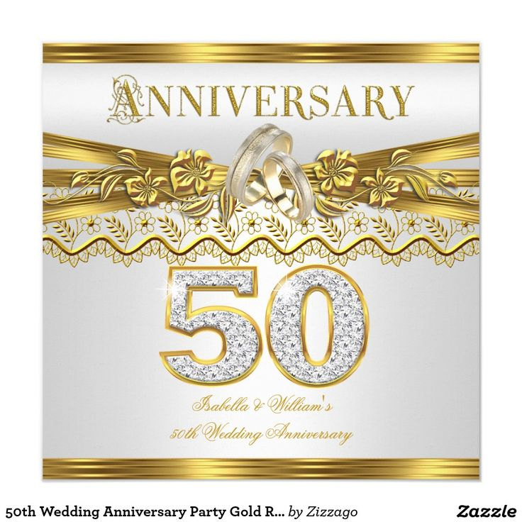 50th Wedding Anniversary Party Gold Rings White 5.25x5.25 Square Paper Invitation Card