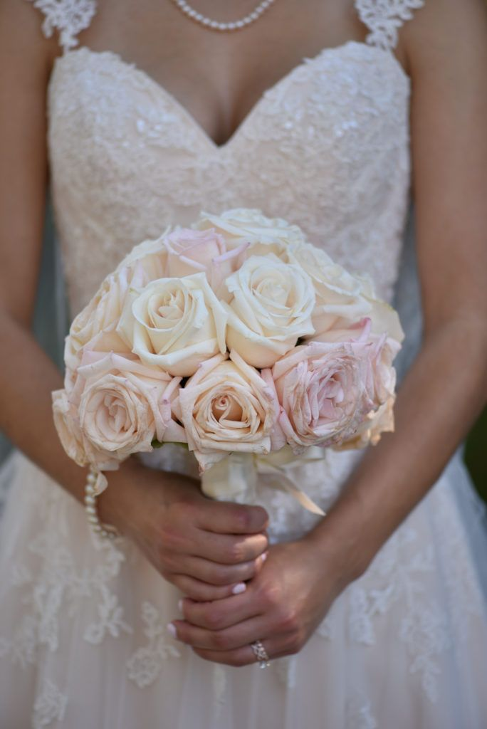 Classic Ivory and Champagne Nosegay Bridal Bouquet | Just Marry! Weddings
