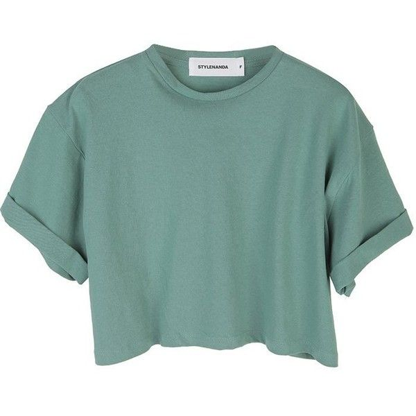 Stylenanda Women's Roll-Up Color Crop Top (34 SGD) ❤ liked on Polyvore featuring tops, t-shirts, shirts, crop tops, t shirts, crop t shirt, shirts & tops, green t shirt and crop shirts