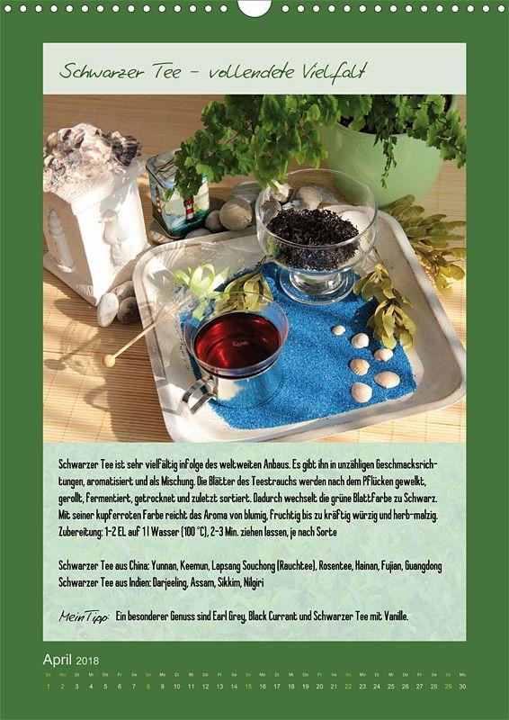 """Küchenkalender mit Text """"Meine Welt des Tees"""", Kalenderblatt April: Schwarzer Tee"""
