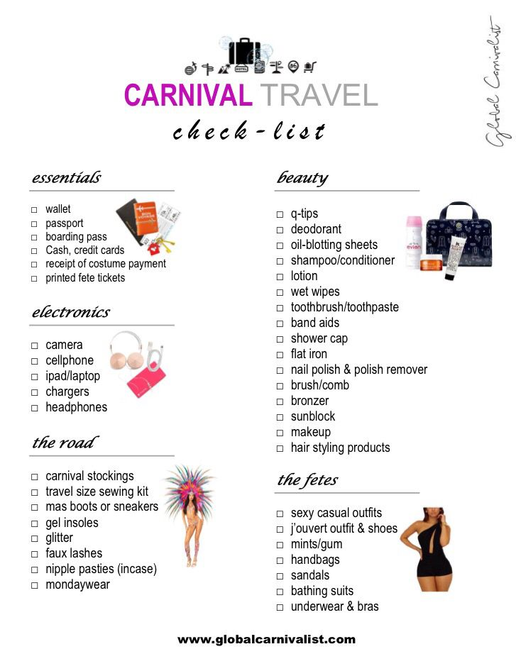Carnival Travel Checklist - carnival 2016, carnival, jamaica carnival, trinidad carnival, crop over, spicemas, rio carnival, what to pack for carnival, mondaywear ideas, carnival tuesday, miami carnival, labor day parade
