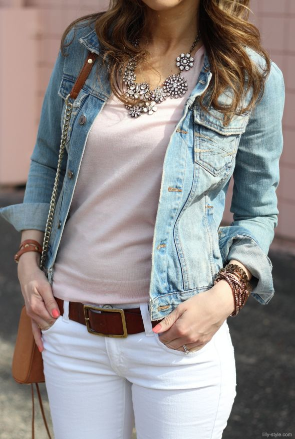 statement necklace, white jeans, blush tee, denim jacket. I'm in love!