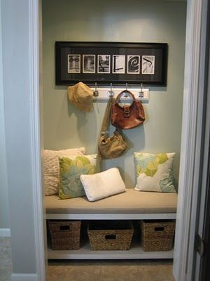 I love this entryway closet turned mud-room. by little-inspirations.blogspot.com