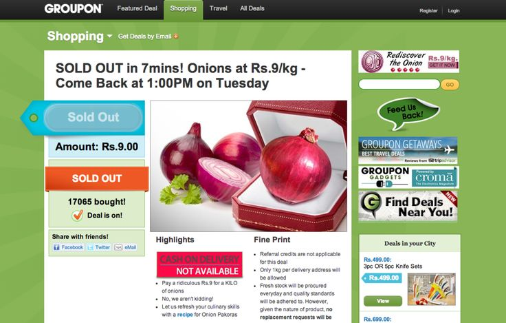 Demand for discounted onions crashes Groupon's Indian website