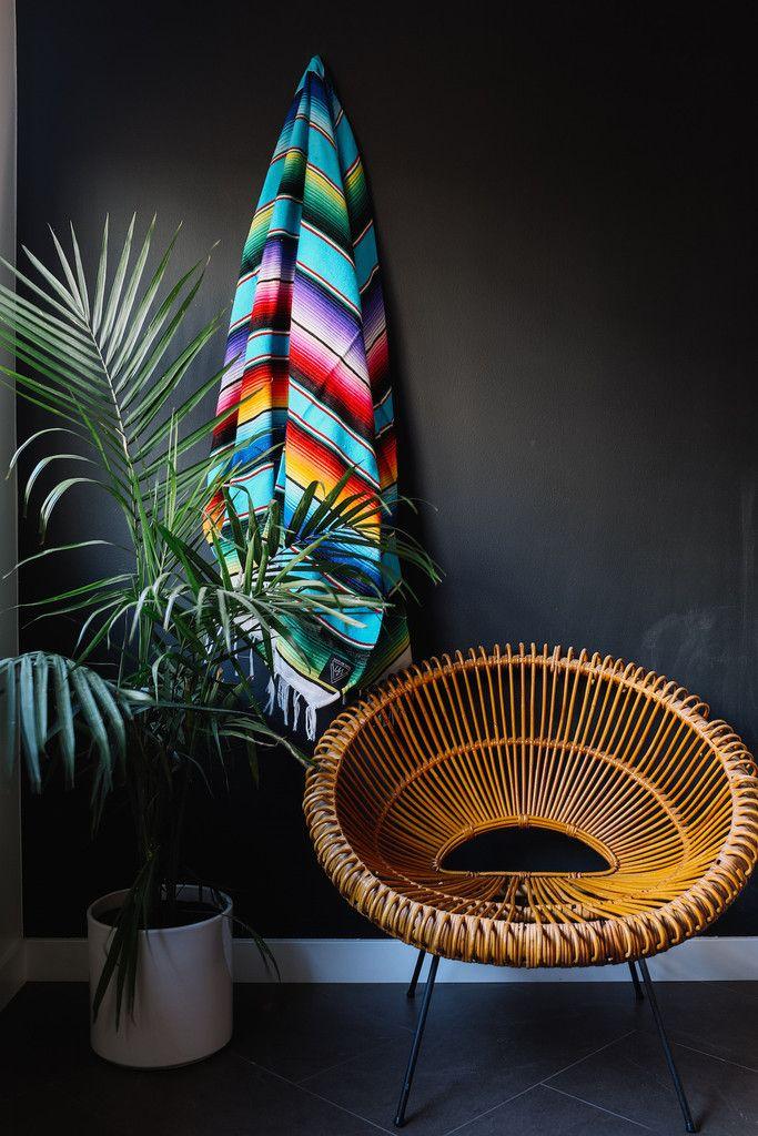 THE CORSAIRE: BRIGHT LIGHT BLUE MEXICAN SERAPE / SALTILLO BLANKET
