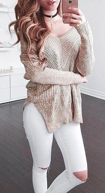 Tan Knit + Destroyed Skinny Jeans