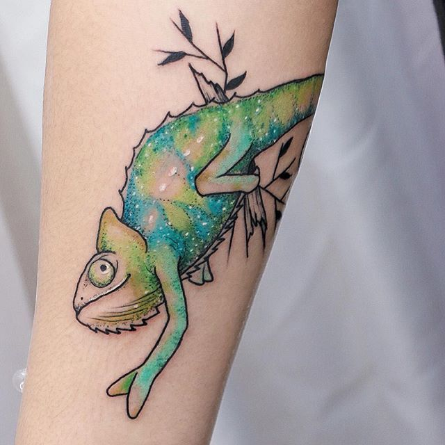 60 Colorful Chameleon Tattoo Ideas: 15 Endearing Chameleon Tattoos