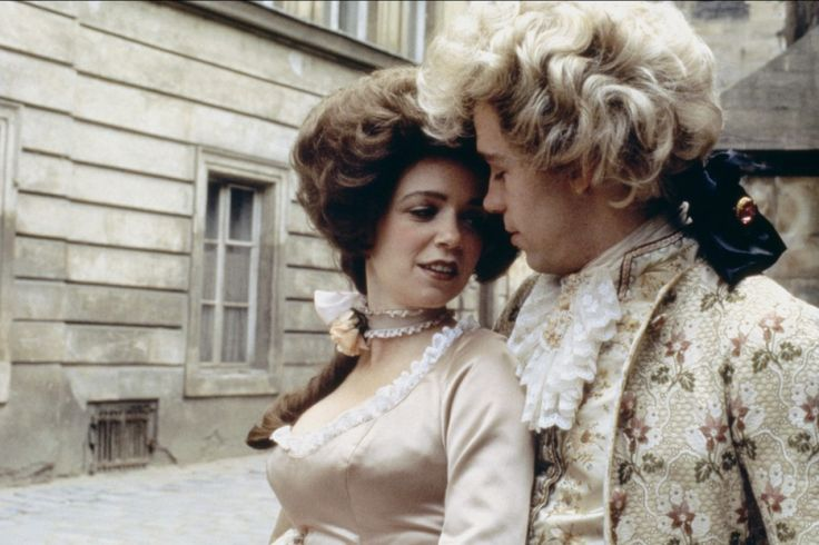 I just love the movie Amadeus and I love how pretty and sweet the character of Constanze is.  I could watch this movie over and over again.  The link leads to a website that has several nice stills from production of the film.