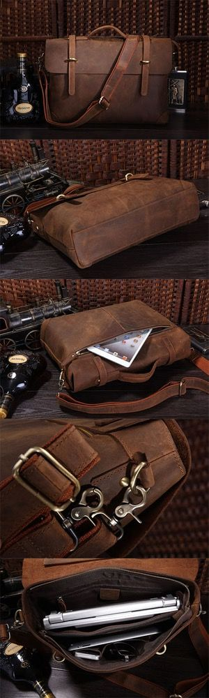 "Image of Men's Leather Briefcase Shoulder Business Laptop Messenger Bags Tote 13"" 15"" MACBOOK BAG R782"