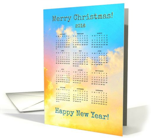 Happy New Year - 2016 - Year Calendar - Pastels - Bright card