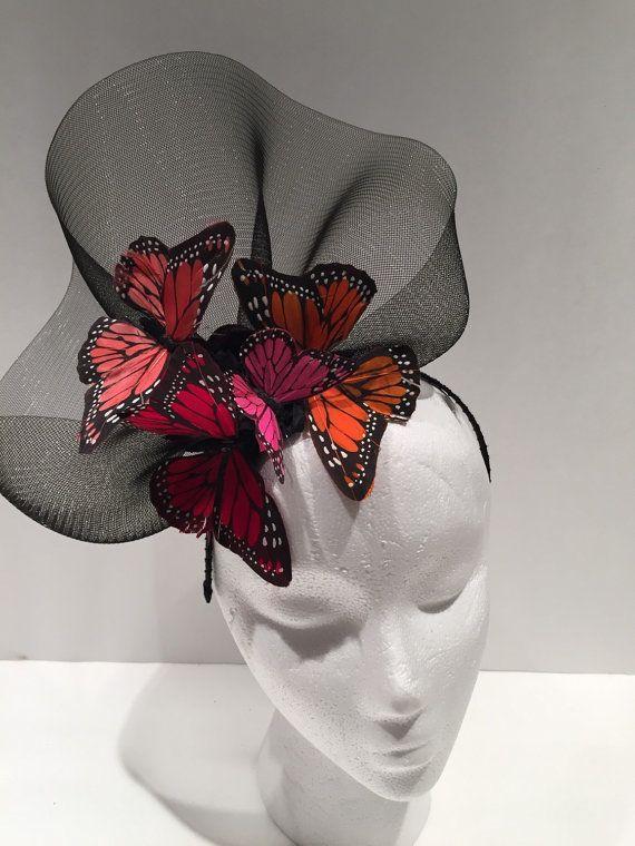 Butterfly headdress -Black Flower Fascinator- Butterfly headdress, Orange,red and fuscia butterflies- Derby-