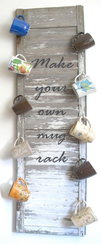 21. Vintage Shutter Mug Rack   23 Awesome Ways To Organize Your Coffee Mug Storage; The Last Storage Is Ingenious