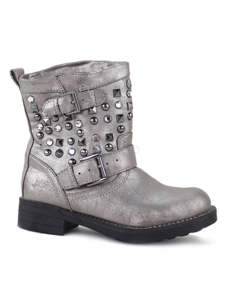 [$31.99] Studded Round Toe PU Leather Women's Flat Ankle Boots